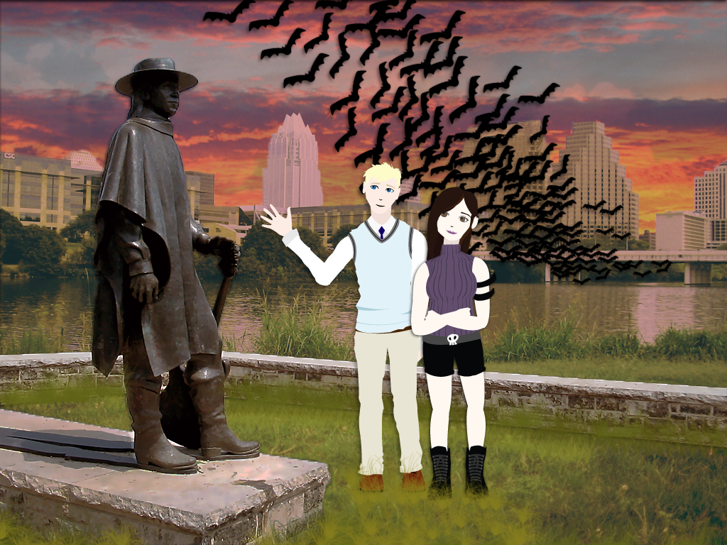 Ruth and Yoni in front of the town-lake statue of Stevie Ray Vaughan
