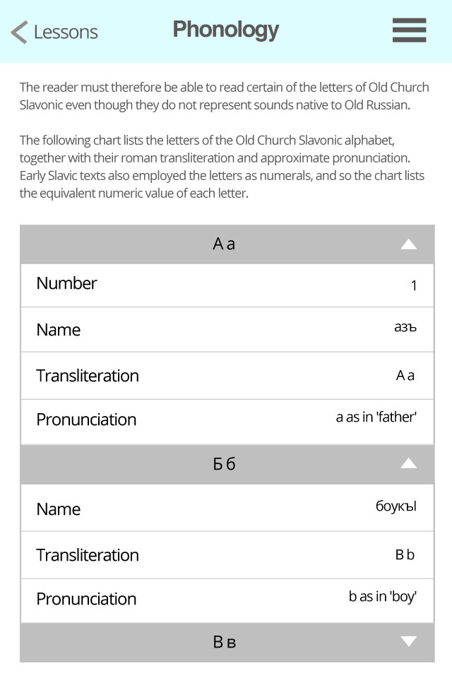 Preview of possible Table layout on mobile of the alphabet