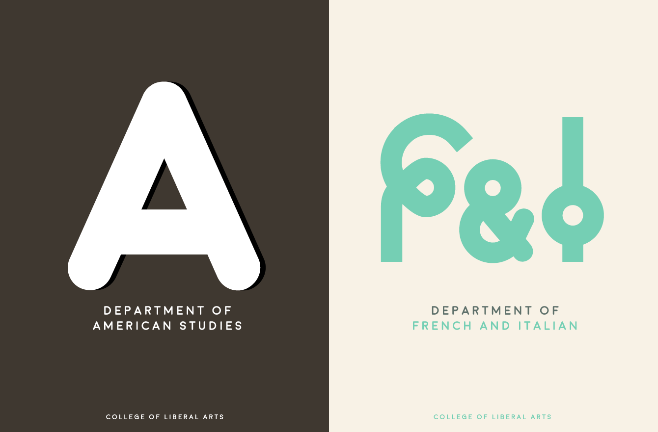 logo designs for american studies and french and italian