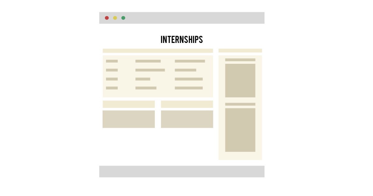 The placeholder for internship related content