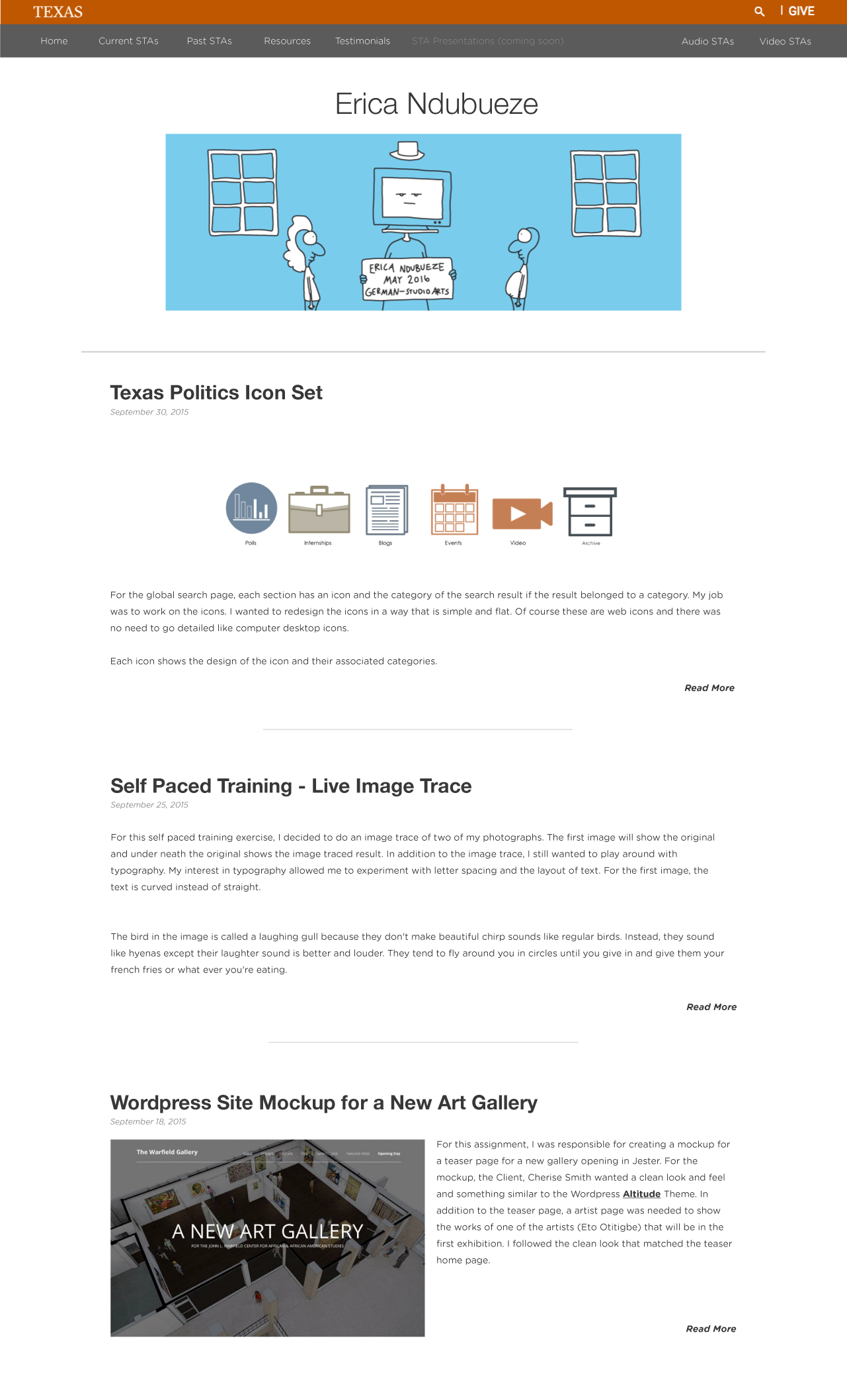 example page of all the blog posts