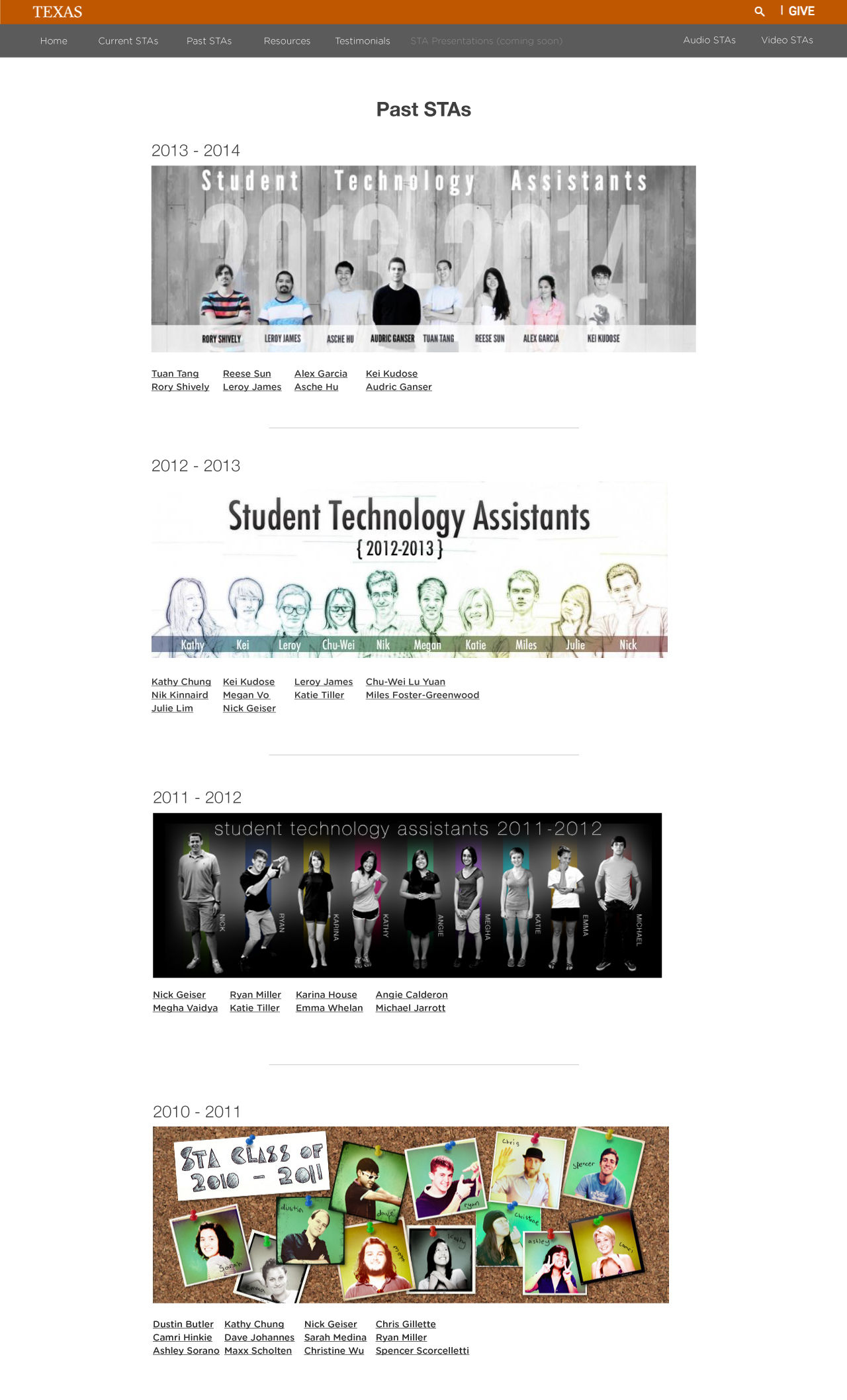 past sta page with banner, year, and links